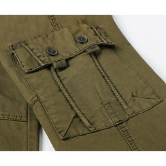 Mens Cargo Pants Solid Color Loose Fit Outdoor Spring Fall Cotton Trousers