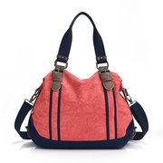 Женщины Контраст Цвет сумки Холст большой емкости мешки плеча Crossbody Сумки
