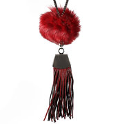 Simple Women Tassel Necklace Leather Wool Ball Sweater Necklace