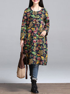 Folk Style Women Floral Printed O-Neck Long Sleeve A-Line Dress