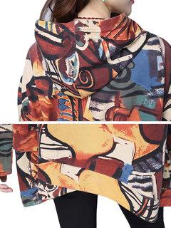 Fashion Printing Hooded  Irregular Hem Pullover Blouse For Women