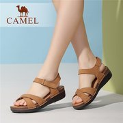 Camel Leather Pure Color Strappy Bandage Hook Loop Wedge Heel Sandals