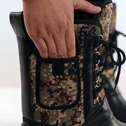 Camouflage Waterproof Fur Lining Removable Pocket Lace Up Mid Calf Boots