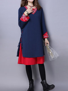 Folk Printed Embroidered Female Double Fabric Long Sleeve Dress