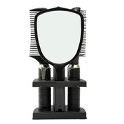 5 Pcs Plastic Hair Comb Brush Mirror Set with Hair Modeling Holder Salon Styling Tool