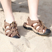 Men Leather Hollow Out Toe Protecting Elastic Outdoor Beach Sandals