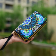 Women Casual National Style Flower Wallet Phone Bags
