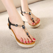 Bohemia Bead Rhinestone Clip Toe Platform Slip On Wedge Heel Sandals