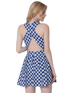 Lztlylzt Women Sexy Polka Dot Halter Backless Sleeveless Mini Dress