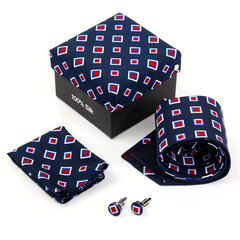 Men Tie Polyester Hanky Cufflinks Set Neckwear Wedding Business Accessories