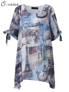 O-Newe Женщины Elegant Сыпучие Печатный лук манжета Нерегулярное Блуза