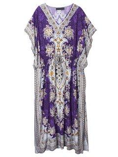Bohemian Women Printed Drawstring Maxi Beach Cover Up Dress
