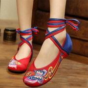 Butterflyknot Embroidery Color Match National Wind Lace Up Strappy Flat Shoes
