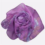 Women Soft Long Chiffon Scarf Wrap Print Magpies Primula Pattern Pashmina Beach Shawls