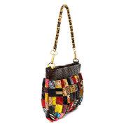 Женщины из натуральной кожи ретро сумки год сбора винограда вскользь Цветочные сумки плеча Досуг Crossbody сумка