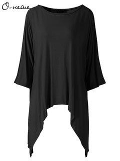 O-Newe вскользь Женщины Сплошной O-образным вырезом Половина рукава Асимметричная футболка
