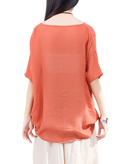 Casual Women Solid V-Neck Pleated High Low T-Shirt