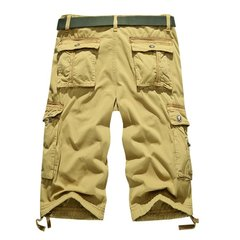 Summer Mens Cotton Big Pockets Washed Solid Color Overall Cargo Shorts
