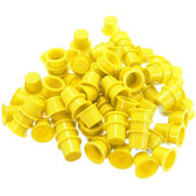 100Pcs Plastic Tattoo Cups Machine Ink Caps Yellow 3 Sizes