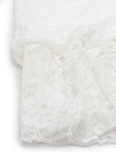 Кружева крючком полые цветочные с плеча с длинным рукавом белое платье