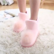 Candy Color Pink Blue Fur Ball Ankle Slip On Cute Flat Boots Home Shoes
