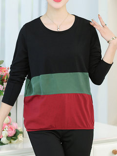 Autumn Women Brief Casual Three Colors Patchwork Round Neck Long Sleeve Blouse