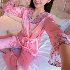 Sexy V Neck Silk-like Embroidery Comfy Breathable Sleepwear Sets For Women