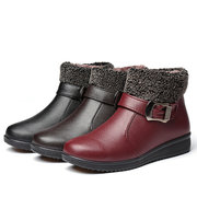 Buckle Folded Fur Lining Zipper Flat Ankle Cotton Boots