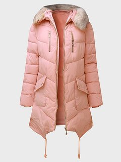 Women Casual Pure Color Long Sleeve Padded Coat