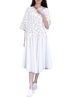 Preppy Style Layered Floral Printed Quarter Casual Shirt Dress