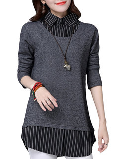 Casual Stripe Patchwork Long Sleeve Lapel Fake Two-Piece Shirt For Women