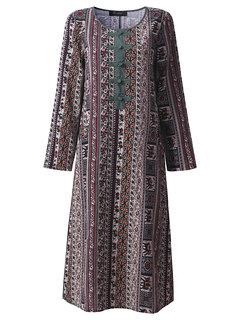O-Newe Фольклорный стиль Геометрический Печатный нашивки пластина Кнопка с длинным рукавом платье