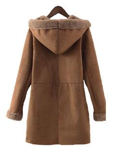 Замша Faux руно Подкладка Camel с длинным рукавом Outwear пальто