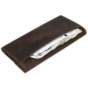 Men Retro Genuine Leather Business Casual Long Wallet