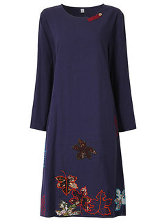Casual Leaf Embroidery Pocket O-Neck Long Sleeve Dress For Women