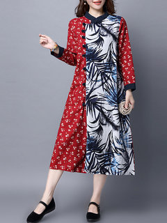Chinese Style Printed Patchwork Button Split Long Sleeve Dress For Women