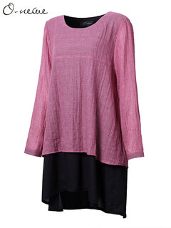 O-NEWE Casual Loose Women Fake Two-Piece Contrast Color Blouse