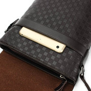 Men Genuine Leather Business Casual Plaid Crossbody Bag Shoulder Bags