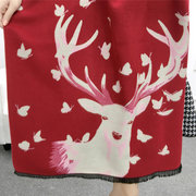 Women Luxury Elk Animal Pattern Duplex Cashmere Scarves Pashmina Thick Warm Shawls Christmas Gifts