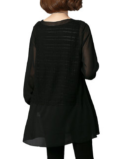 Casual Women Round Neck Pure Color Chiffon Stitching Mid-Length Blouse