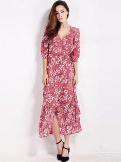 Женщины Повседневная цветочный принт щелевая V-образным вырезом Половина рукава платья макси