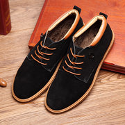 Big Size High Top Suede Warm Wool Fleece Fur Lining Oxford Shoes