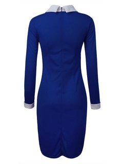 Party Solid Bodycon  Turn Down Collar Long Sleeve Dress