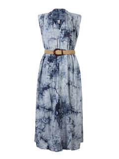 Loose Printed Sleeveless Dress With Belt For Women