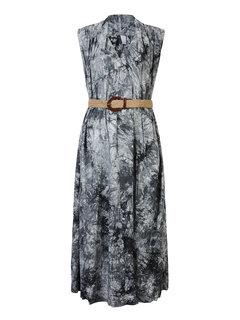 Сыпучие Печатный платье без рукавов с поясом для женщин