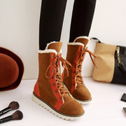 Big Size Lace Up Multi-Way Color Match Flat Ankle Warm Boos