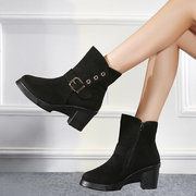 Buckle Button Chunky Heel Ankle Slip On Boots