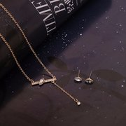 Gold Alloy Rhinestone Rectangle Earrings Necklace Suit for Women
