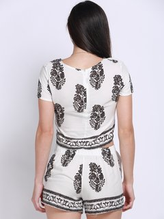 Women Casual Flora Printing O Neck Short Sleeve Suit
