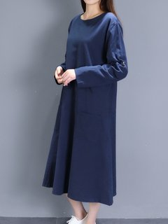 Vintage Women Long Sleeve Pure Color Pocket Loose Dress